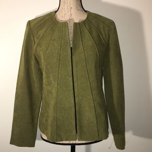Textured Olive Jacket by R&K. Size 10P